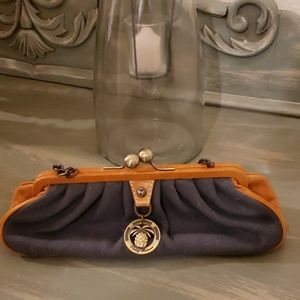 Tommy Bahama Blue fabric Leather Clutch Chain Bag